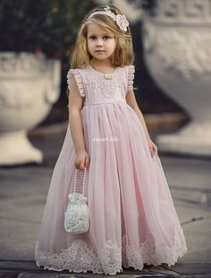 Cheap communion dresses, Buy Quality first communion dresses directly from China communion dresses for girls Suppliers: Lovely Light Pink Flower Girl Dresses Special Occasion Kids Pageant Gowns A-Line Lace Appliqued First Communion Dresses for Girl Pink Princess Dress, Pink Flower Girl Dresses, Lace Flower Girls, Little Girl Dresses, Girls Dresses, Princess Dress Patterns, Pink Flowers, First Communion Dresses, Wedding With Kids