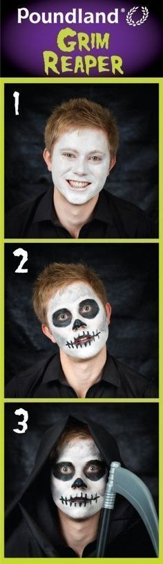 Poundland Grim Reaper face painting step by step. #stepbystepfacepainting