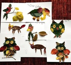 Make Animals with Fall Leaves Pinned by www.myowlbarn.com
