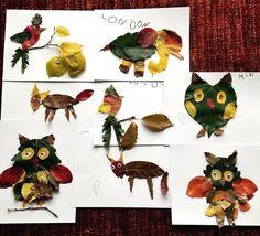 Make Animals with Fall Leaves Pinned by www.myowlbarn.com