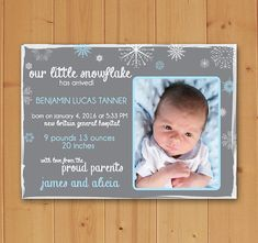 Ready to welcome your little one into the world? This Winter Birth Announcement is perfect! Available in Blue and Pink! Completely Customizable and ready to print quickly and easily!