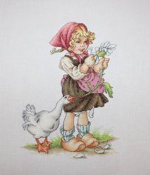 B1047 Niña con flores y el ganso