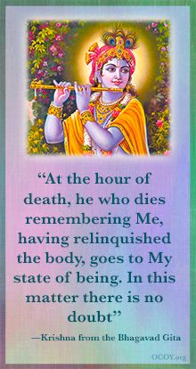 """""""At the hour of death, he who dies remembering Me, having relinquished the body, goes to My state of being. In this matter there is no doubt"""" —Sri Krishna from the Bhagavad Gita Radha Krishna Quotes, Radha Krishna Pictures, Lord Krishna Images, Radha Krishna Love, Hare Krishna, Krishna Mantra, Krishna Flute, Krishna Leela, Hindu Quotes"""