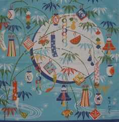 'Tanabata Star Festival Decorations' furoshiki from Kyoto Collection on Etsy.
