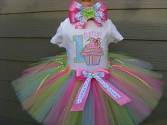 Custom Tutus...CUPCAKE CRAZE...birthday, tutu set, size 3,6,9,12,18,24 months and 2T,3T,4T,5T,6T years,costume, photo prop, dress up. $65.00, via Etsy.