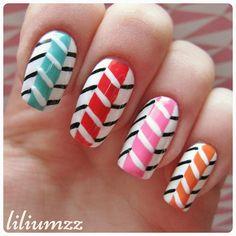 "New mani Check out my instagram @liliumzz   Changed the color up a bit on a design inspired by @missjenfabulous"" #nail #nails #nailart #naildesign#nailpolish #nailstagram #manicure #mani #neglelakk#nagellack #nailspiration #nagellack  #notd #nailsoftheday #liliumzz #cutenails #cutemani #nails2inspire #zigzag #zigzagnails #zigzagpatter #missjenfabulous"