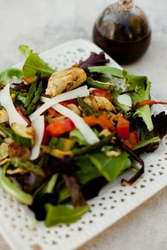 Grilled veggie salad. Omit Cheese to make Whole 30 Compliant
