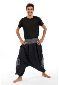 Sarouel Arun ceinture smockée noir gris bleu - K1464 - 100% pur coton du Népal. A porter en mi-saison et tout l'hiver.