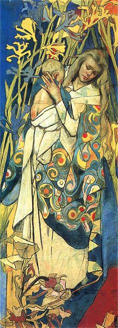 """Stanisław Wyspiański """"Madonna and Child"""" Fragment of stained glass design for the Cathedral of Lviv Pastel. The National Museum in Warsaw Art And Illustration, Claudia Tremblay, National Gallery, Madonna And Child, Christian Art, Mother And Child, Pretty Art, Our Lady, Painting & Drawing"""
