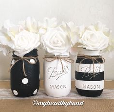 Black and White Mason Jar Centerpieces, Distressed Mason Jars, Rustic Home Decor, Painted Ball Jars, Baby Shower, Mason Jar Decor