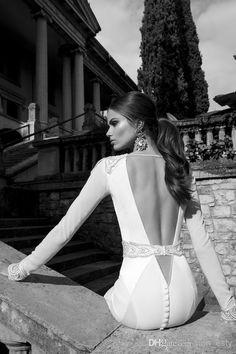 Berta Sexy Deep V Neck Beaded Band White Open Back Wedding Dresses Long Sleeves Mermaid Court Train Sequins Elastic Satin Ruffle Winter 2014