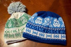 """Hannah L: """"This is a pattern for all you Star Wars lovers planning to go see the upcoming movie in style. It's mostly colorwork, with a slight brim on the edge, which I suggest blocking to lay flat after finishing.  The pattern is written for #3 needles for a female adult hat (26 stitches/4 in) or #6 needles for an adult male hat (23 stitches/4 in). The hat is quite long and sits fully over the ears.  I did the white hat in Silke by Artier Witico and the blue hat in Titan Wool by Zaffiro..."""