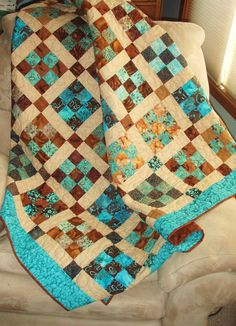 Lap Quilt Throw in Teal Brown and Tan Patchwork by nhquiltarts, $300.00