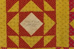 1842 block in quilt signed Esther L Garrett. Chester County Historical Society.