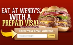 Enter your email and a survey will pop up on your screen. Complete a survey and get a chance to win Wendys Gift Card. Hurry Up! Prepaid Visa Card, Surveys For Money, Your Email, Free Gift Cards, Email Address, Pop, Gifts, Popular, Presents
