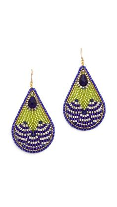 Miguel Ases Beaded Teardrop Earrings - cool idea for a project