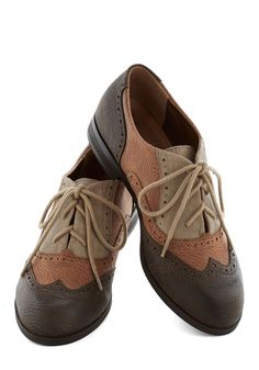 Sepia in the Right Direction Shoe. Sometimes a stroll down memory lane takes the form of a simple flip through old photographs, but today it entails embarking on an actual walk in these photo-worthy flats! #brown #modcloth