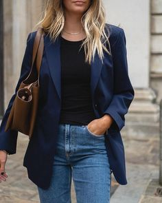 Navy Leather Jacket, Leather Jacket Outfits, Blazer Outfits For Women, Casual Outfits, Fashion Outfits, London Girls, Business Outfits, Mulberry Silk, Fall Wardrobe