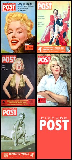 Picture Post (English) magazine covers of Marilyn Monroe .... #marilynmonroe #normajeane #vintagemagazine #pinup #iconic #raremagazine #magazinecover #hollywoodactress