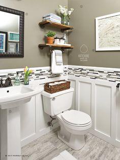 Home Interior Bathroom Renovation Rescue: Small Bathroom on a Budget.Home Interior Bathroom Renovation Rescue: Small Bathroom on a Budget Downstairs Bathroom, Bathroom Renos, Bathroom Shelves, White Bathroom, Small Bathroom Redo, Half Bathroom Decor, Half Bathroom Remodel, Half Bath Decor, Bathroom Wainscotting