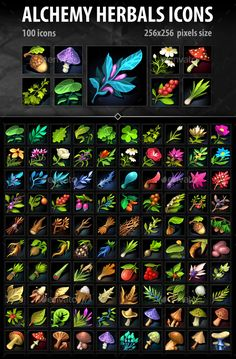 Buy Alchemy Herbs Icons by a-ravlik on GraphicRiver. The set includes 100 alchemy herbs icons . Weapon Concept Art, Game Concept Art, Game Design, Icon Design, Magic Herbs, Magic Bottles, Principles Of Art, Game Icon, Art Plastique