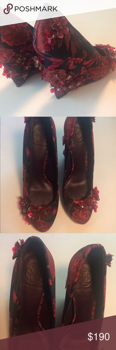 """Tory Butch Pixie Wedge Satin Heels Tory Burch heels in matte floral satin. Embellished with flower clusters. Worn once! Padded insole makes them easy to wear through the day and night! 4.5"""" wedge heel, leather lining. MSRP is $425. Feel free to ask questions, enjoy! Tory Burch Shoes Wedges"""
