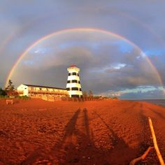 Rainbow over West Point Lighthouse in Prince Edward Island, Canada Dark Places, Places To See, Beautiful Islands, Beautiful Places, Brave, East Coast Road Trip, Way To Heaven, Canadian Travel, Prince Edward Island