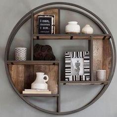 Wandrek rond mango industrieel - 100 cm Wooden Furniture, Furniture Decor, Home Design, Rustic Pendant Lighting, Home Gadgets, Wall Racks, Shelf Design, Furniture Outlet, Home Decor