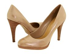 The Rocha    These classic pump from Ninewest with a wooden platform heel would look nude on mid and darker tone skins.