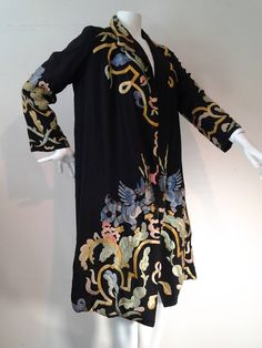 1920s Harrod's of London Chinese Style Dragon Embroidered Duster   From a collection of rare vintage coats and outerwear at https://www.1stdibs.com/fashion/clothing/coats-outerwear/