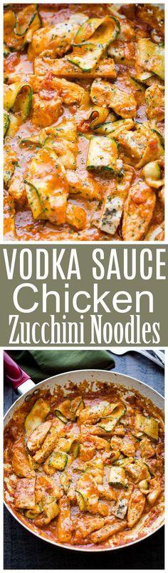 Vodka Sauce Chicken Zucchini Noodles – Easy, quick, but SO delicious Zucchini Noodles and Chicken tossed with homemade Vodka Sauce.
