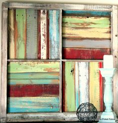 Beyond The Picket Fence: Window Salvage Love this window frame with painted scrap wood & trim pieces. Old Window Projects, Pallet Projects, Diy Projects, Pallet Ideas, Farm Projects, Fence Ideas, Wood Ideas, Window Art, Window Frames