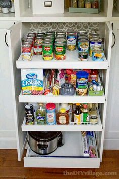 Kitchen Pantry Reveal DIY custom pantry makeover + pull out storage shelves. This is amazing!DIY custom pantry makeover + pull out storage shelves. This is amazing! Kitchen Redo, Kitchen Pantry, Kitchen Remodel, Kitchen Design, Pantry Cabinets, Organized Kitchen, Kitchen Ideas, Diy Cupboards, Pantry Cupboard