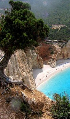 Porto Katsiki Beach ~ is located on the Ionian Sea, island of Lefkada, Greece.I so want to go to Israel and Greece! Dream Vacations, Vacation Spots, Vacation Travel, Beach Travel, Places To Travel, Places To See, Europe Places, Places Around The World, Around The Worlds