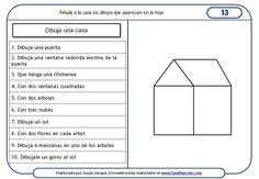 Fichas de comprensión de instrucciones escritas, dibujo de una casa