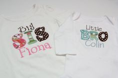 Big Sister Shirt and Little Brother Onesie on Etsy, $40.00