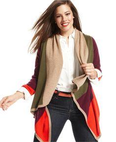 Charter Club Plus Size Sweater, Long-Sleeve Colorblock Draped Cashmere Cardigan - Plus Size Sweaters - Plus Sizes - Macy's