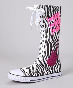 Zebra 'I Heart Rock' Extra Hi-Top Sneaker