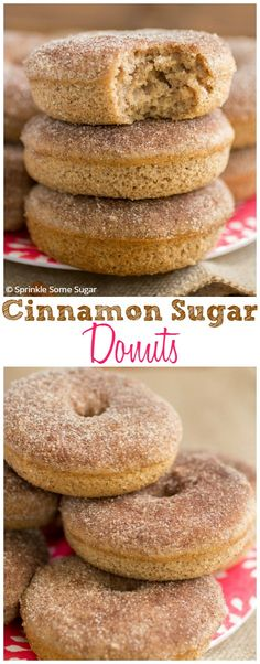 Cinnamon Sugar Donuts. These baked donuts are big, fluffy and bursting with so much warm, cozy flavor!