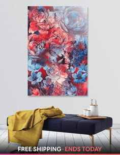 Discover «flowers red and blue pattern #flowers», Numbered Edition Acrylic Glass Print by Justyna Jaszke - From $85 - Curioos