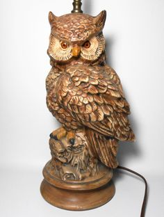 Vintage Owl Lamp, Ceramic, Brown, Owl, Table Lamp, Owl Decor,