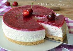 Torta fredda con ricotta e ciliegie senza cottura,cremosa, golosa , colorata , si scioglie in bocca, ricetta fresca,ricetta estiva, ricetta con la frutta