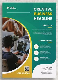 Corporate Business Flyer PSD and Vector AI, PSD, EPS - International A4 size, 297×210mm. Download