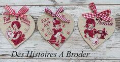 Des Histoires à broder - Etiquettes coeurs (patroon - grille)