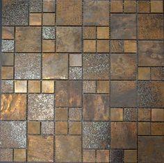 Antique copper tiles - MEITIAN MOSAIC CO.,LTD.  Backsplash accent and fireplace surround.