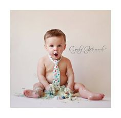 Boy first birthday - cake smash photo shoot. i adore the idea of adding the tie!!