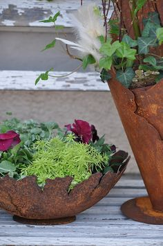 layers of flat rusted metal with ivy, petunias and aspargus ferns