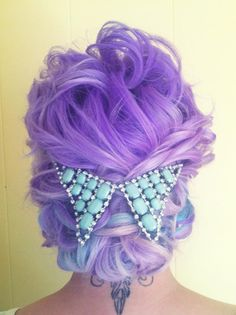 Wedding hair.  Bridal hair.  Wedding hair idea.  Bride.  Rock n roll bride.  Lavender hair.  Pastel hair.  Updo.
