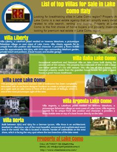 List of top 10 Villas for Sale in Lake Como Italy Real Agent, Lake Como Italy, Real Estate Agency, Luxury Villa, Villas, Infographic, Top, Luxury Condo, Infographics