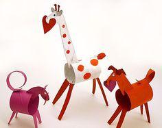 ♥Impresionantes animalitos con rollos de cartón pintados #Reciclaje
